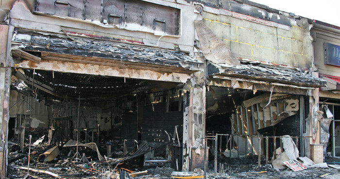 storefront fire damage